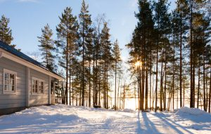 Winter,Lake,In,Forest,With,House